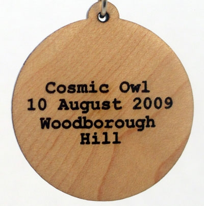Cosmic Owl Wood Pendant
