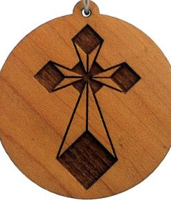Diamond Cross Wood Pendant