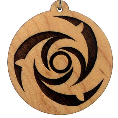 Dolphins Wood Pendant