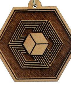 Hyper Cube Wood Pendant
