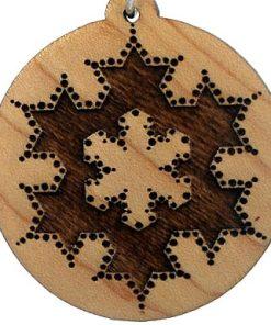 Koch Fractal Wood Pendant