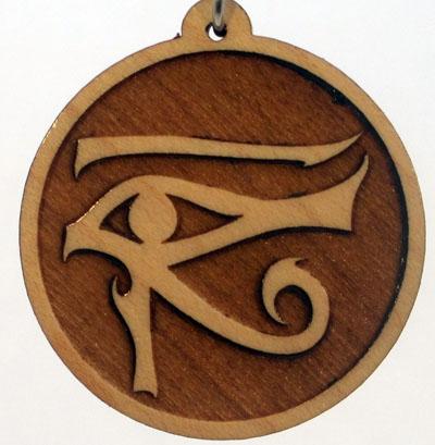 Left Eye of Horus Wood Pendant