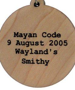 Mayan Code Wood Pendant