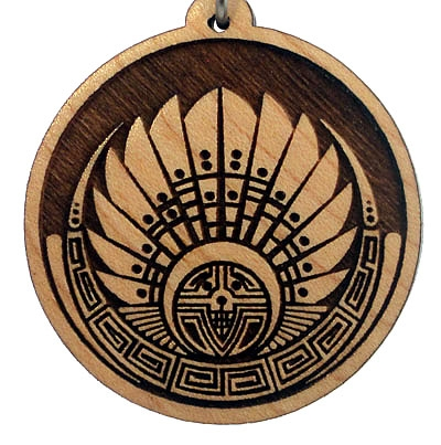 Mayan Headdress Wood Pendant