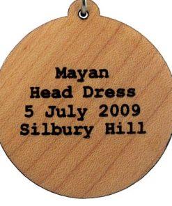 Mayan Headdress Wood Pendant