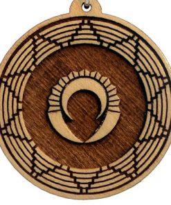 Mayan Shield Wood Pendant