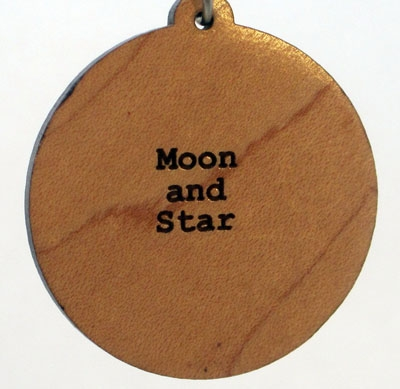 Moon and Star Wood Pendant