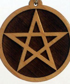 Pentagram Wood Pendant