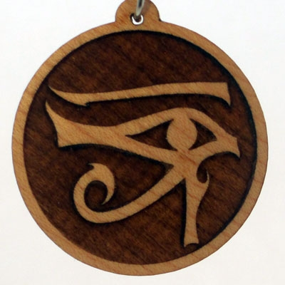 Right Eye of Horus Wood Pendant