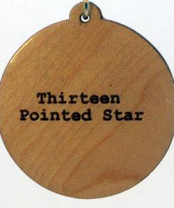 Thirteen Pointed Star Wood Pendant