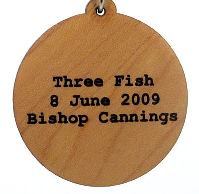 Three Fish Wood Pendant