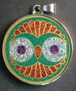 Cosmic Owl Malchite 01 Gemstone Pendant