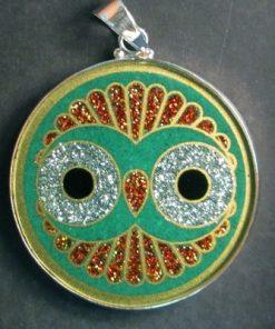 Cosmic Owl Malchite 02 Gemstone Pendant