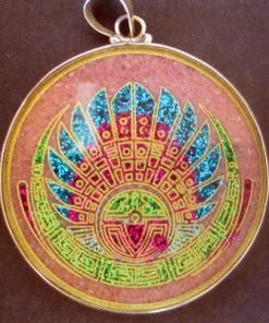 Mayan Headdress Rhodchrosite 01 Gemstone Pendant