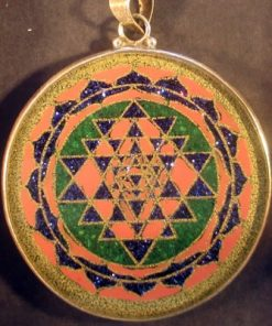 Sri Yantra Malachite 02 Gemstone Pendant