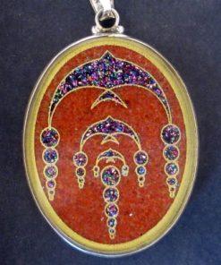 Swallows Red Jasper 01 Gemstone Pendant