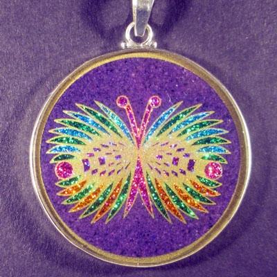 Butterfly charoite 01 Gemstone Pendant