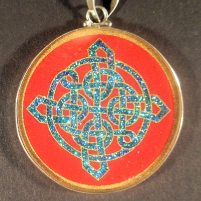 Celtic Knot coral 01 Gemstone Pendant