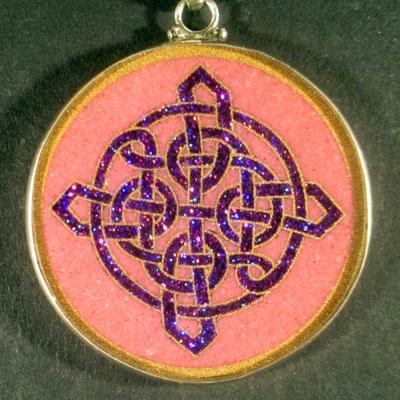 Celtic Knot rhodochrosite 02 Gemstone Pendant