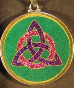 Celtic Trinity malachite 02 Gemstone Pendant