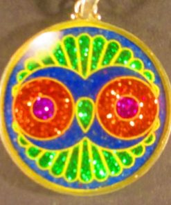 Cosmic Owl lapis lazuli 01 Gemstone Pendant