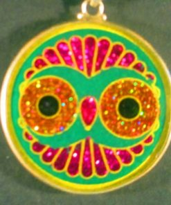 Cosmic Owl malachite 03 Gemstone Pendant