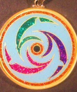 Dolphins Turquoise 02 Gemstone Pendant
