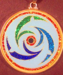 Dolphins Turquoise 04 Gemstone Pendant