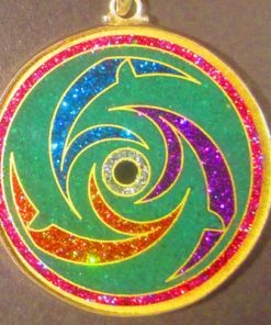 Dolphins malachite 02 Gemstone Pendant