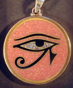 Eye of Horus rhodochrosite 01 Gemstone Pendant