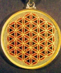 Flower of Life quartz 02 Gemstone Pendant