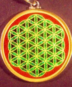 Flower of Life red jasper 05 Gemstone Pendant
