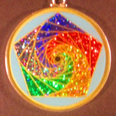 Pentagon Spirals Turquoise 05 Gemstone Pendant