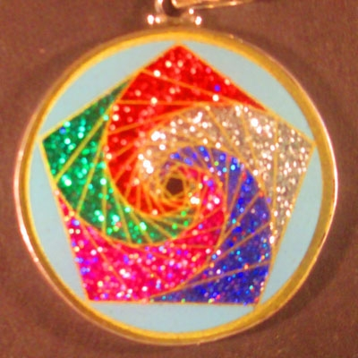 Pentagon Spirals Turquoise 08 Gemstone Pendant