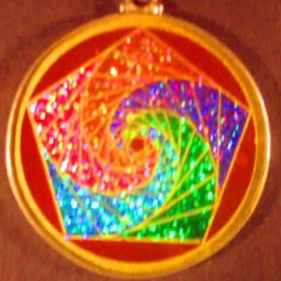 Pentagon Spirals red jasper 03 Gemstone Pendant