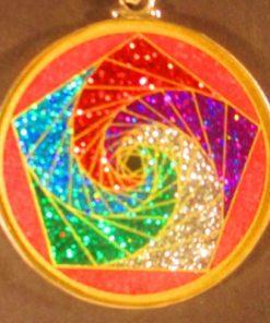 Pentagon Spirals rhodochrosite 02 Gemstone Pendant