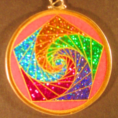 Pentagon Spirals rhodochrosite 03 Gemstone Pendant