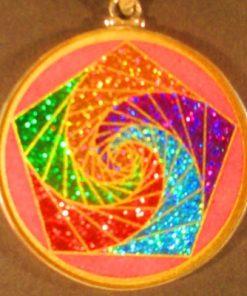 Pentagon Spirals rhodochrosite 04 Gemstone Pendant