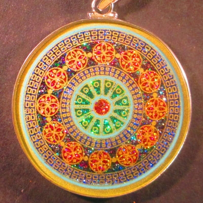 Rose Window turquoise 01 Gemstone Pendant