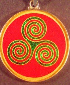 Triple Goddess coral 01 Gemstone Pendant