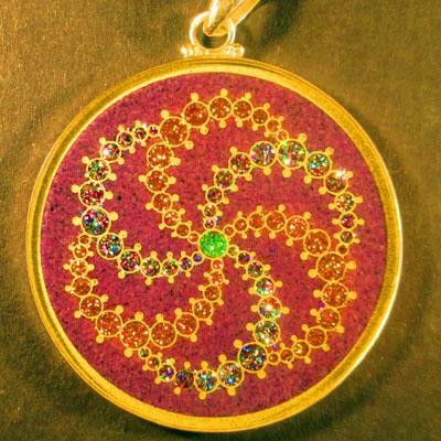 Galaxy charoite 02 Gemstone Pendant