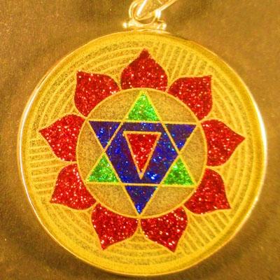 Gayatri Yantra quartz 01 Gemstone Pendant