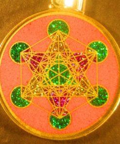 Metatrons Cube rhodochrosite 09 Gemstone Pendant
