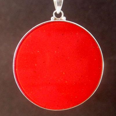 Om coral 01 Gemstone Pendant