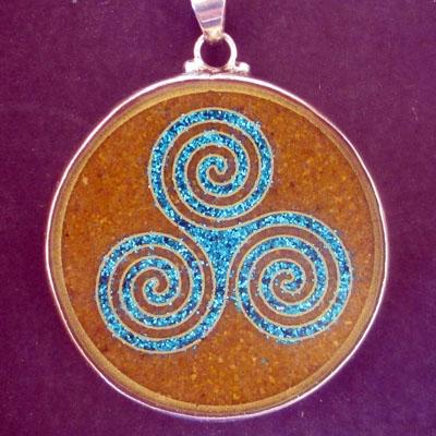 Triple Goddess tiger eye 02 Gemstone Pendant