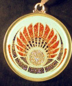 Mayan Headdress turquoise 05 Gemstone Pendant