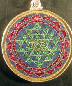 Sri Yantra lapis lazuli 17 Gemstone Pendant