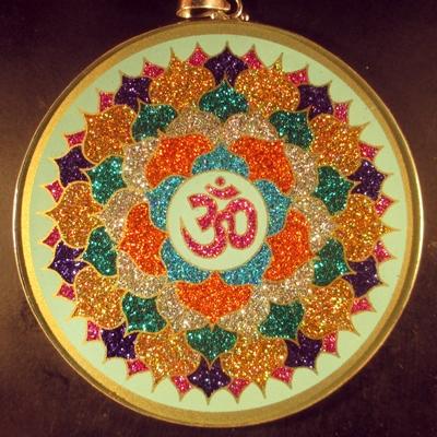 Eighth Chakra Om turquoise jumbo 01 Gemstone Pendant